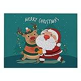 Lushi algodón y lino aislamiento manteles individuales Navidad serie verde impermeable manteles individuales rectangulares occidentales