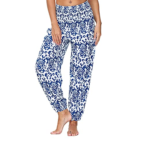 Spodnie damskie, luźne spodnie z nadrukiem, spodnie do jogi, joggingu, w stylu boho, na plażę, luźne spodnie plażowe, proste, pumpy, alladynki, jasnoniebieski, XXL