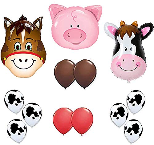 Lowest Prices! Cow Print Balloons - Farm Animal Balloons 36 Cow Donkey And Pig With 12 Helium Qual...