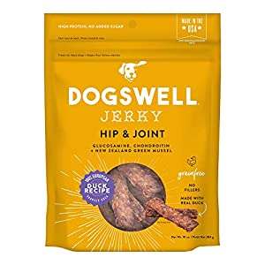 DOGSWELL Jerky Hip and Joint Dog Treats Grain Free Made in USA Only, Glucosamine and Chondroitin, 10 oz Duck (842194)