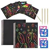 Scratch Art Paper 100 Hojas con 2 Plantillas Dibujos 2 Lápices, notas para rascar, Manualidades Rascar Rainbow Mini Bloc de Notas Mágico para Pascua Halloween Navidad Fiesta Cumpleaños Regalo