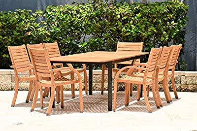 Amazonia Decatur 9 Piece Extendable Dining Set   Teak Finish and Stackable Chairs  Durable and Ideal for Outdoors