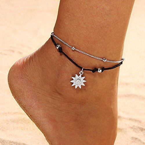 ToDIDAF Fashion Fußkettchen Armband für Frauen Mädchen Double Layer Fußschmuck Einfache Silberne Metallkette Schwarzes Faserseil Sun Shape Pedent Geeignet für Strand Sommerferien Reisen Party