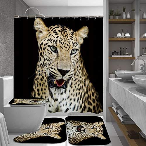 ZLWSSA Fashion Leopard 4Pcs Set Lid Toilet Seat Cover Pedestal Rug Shower Curtain Mat Carpet For Household Bathroom W180xH240cm