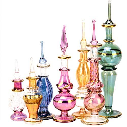 Juego de 12 botellas de perfume egipcias de vidrio Pyrex decorativo soplado a mano de 2-5 pulgadas con decoración egipcia hecha a mano para perfumes y aceites esenciales de NileCart