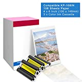 Suminey Compatible Canon KP-108IN KP108 3 Color Ink Cassette and 108 Sheets 4 x 6 inch Paper Set for Canon Selphy CP1300, CP1200, CP910, CP900, CP760, CP770, CP780,Wireless Compact Photo Printer