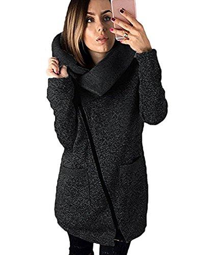 Minetom Womens beiläufiger mit Kapuze Jacken-Mantel-Langer Reißverschluss-Sweatshirt-Outwear-Oberseiten Schwarz DE 34