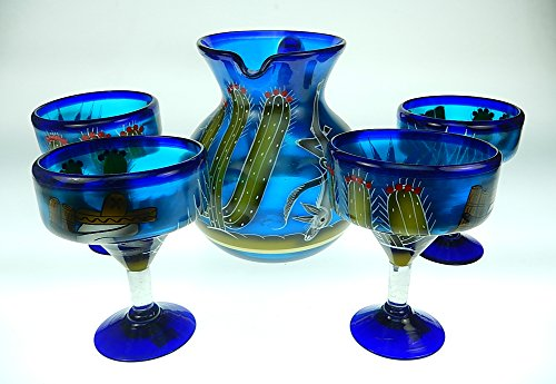 Mexican Glass Margarita And Pitcher, Hand Painted Poncho Cactus (Set Of 4)