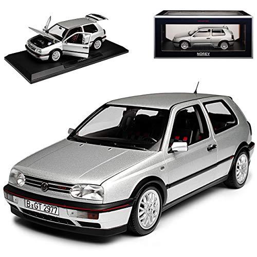 Norev Volkwagen Golf III GTI Silber 3 Türer 20 Jahre Edition 1991-1997 1/18 Modell Auto mit individiuellem Wunschkennzeichen