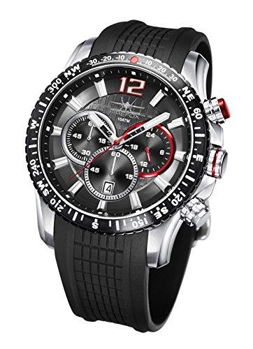FIREFOX Gadget FFS190-102 schwarz Edelstahl Herrenuhr Chronograph Spezial Silikonarmband Sicherheitsdornschließe 10 ATM wasserdicht