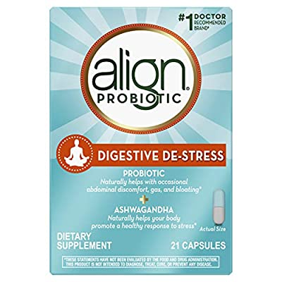 Align Digestive DE-Stress Probiotic + Herbal Ashwagandha Supplement, Dietary Supplement, 21 Capsules