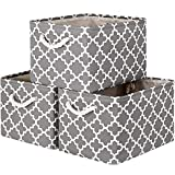 WISELIFE Storage Basket [3-Pack] Large Collapsible Storage Bins Boxes Cubes for Clothes Toys Books, Perfect Storage Organizer w/Handles (Grey, 15' x 11' x 9.5')