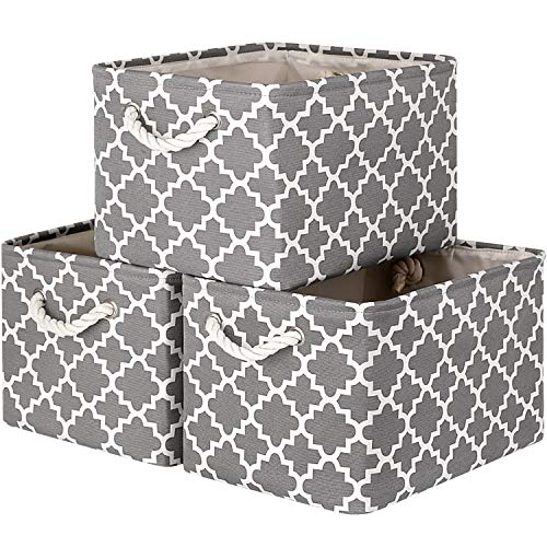 "WISELIFE Storage Basket [3-Pack] Large Collapsible Storage Bins Boxes Cubes for Clothes Toys Books, Perfect Storage Organizer w/Handles (Grey, 15"" x 11"" x 9.5"")"