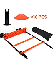 Velocidad Agility Train Kit, 19 ft Planas Escalera + 10 Cono de Pieza Disc Speed Escalera de Entrenamiento con Bolsa para Athletic Entrenamiento, Naranja