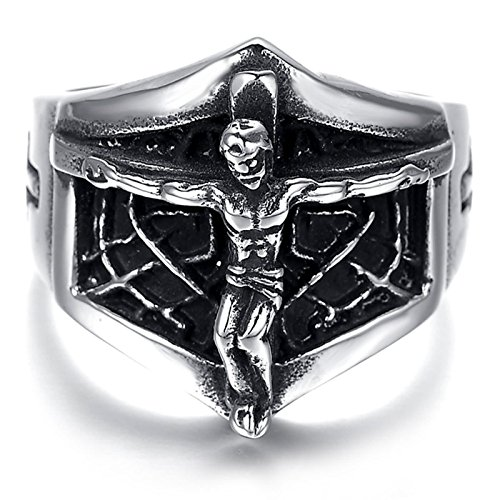 Adisaer Männer Ringe Bandring Weissgold Bike Gothic Ring Herren Schwarz Silber Kreuz Mit Jesus Schädel Ring Gr. 57 (18.1) Gothic Bandringring Valentinstag