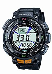 Casio Men's Pathfinder Triple Sensor Multi-Function Sport Watch - Casio Tough Solar watches are battery powered. The battery is recharged by a solar panel built into the face of the watch. Depending on the model, a Casio Tough Solar watch can stay fully functional anywhere from 5-23 months without exposure to any light. Casio Tough Solar watches can be recharged with any type of light, but recharging times will vary according to the light-source.