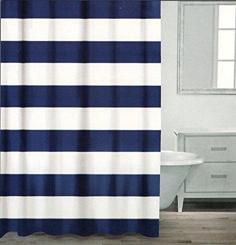 SUN-Shine Duschvorhang mit breiten Streifen, weiß, marineblau, silber, Dekor-Kollektion, Stoff, Duschvorhang mit Haken, 183 x 244 cm