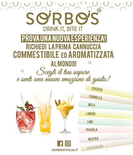 Sorbos Cannucce commestibili 100 cannucce (Fragola)