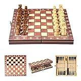 VGEBY1 Juego de ajedrez de Madera, Juego de ajedrez magnético Plegable para Juegos de ajedrez para niños Adultos al Aire Libre en Interiores