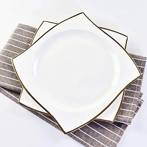 AYHa Plato de porcelana chapada en oro blanco de 8 pulgadas - Juego de vajilla occidental/Juego de cubiertos saludable y ecológico (Blanco / 4 piezas - Contenido de polvo de hueso 42%)