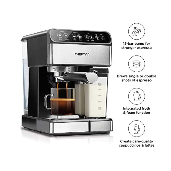 Chefman 6-in-1 Espresso Maker, Powerful 15-Bar Pump, Brew Single or Double Shot, Built-In Milk Froth for Cappuccino… 7 MAKE YOUR KITCHEN A CAFE: Bring the energizing taste of coffeehouse brews into your home with the gourmet Chefman Espresso Maker! With a powerful 15-bar pump and a built-in milk frothing mechanism, you'll be able to brew like a barista every morning. UPGRADE YOUR COFFEE: This 6-in-1 coffee machine creates all of your favorite high-quality coffee beverages right in your kitchen. Enjoy single or double shots of espresso, cappuccinos, lattes, and more with the integrated frothing system. Ditch your old coffee pot, get the upgrade you've been craving. BREW WITH EASE: While your morning cup of joe might be more complex with the Espresso Machine, your brewing process will be easier than ever. With simple one-touch operation, you can brew and froth your perfect cup. Plus, with the XL 1.8 Liter water container, you can forget about daily refills.