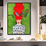 ganlanshu Pintura sin Marco Pintura Colorida de Acuarela impresión de póster decoración de Arte del Personaje nórdico Moderno sobre Lienzo ZGQ2284 40X50cm