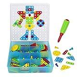 Nuheby Jeux De Construction Mosaique Enfant Puzzle Jeu Motricite Fine Loisir Creatif Puzzle Mosaique Bloc Montessori Jouets avec 180 Pieces pour Enfants Cadeaux 3 4 5 6 Ans Fille Garcon
