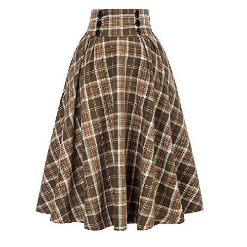 N\P Falda de cuadros casual con bolsillos de cintura alta plisada falda elástica para damas de longitud media falda para niñas