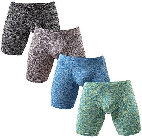 NEIKU Men's Long Leg Underwear Sexy Boxer Briefs with Pouch Low Rise Undies 4 Pack S