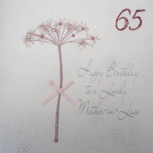 witte katoenen kaarten Happy Lovely Mother-in-Law 65, handgemaakte 65e verjaardagskaart (Dandelion)