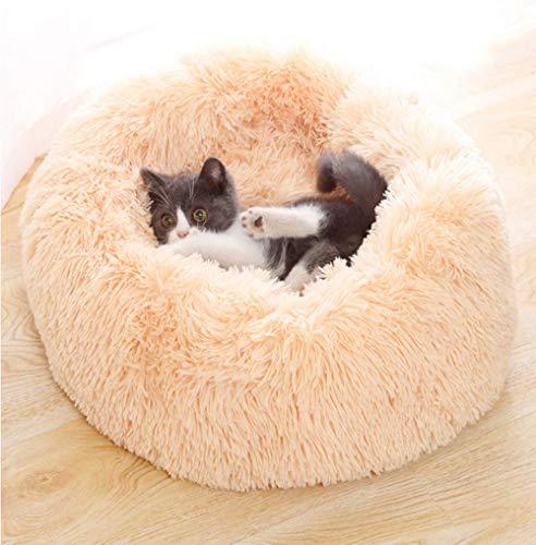 YUPPIE TONE Hundebett, Katzenbett,Waschbar Flauschiges Weicher Plüsch Rund Donut Tragbare Schlafsofa Haustierbett - Beige 70cm