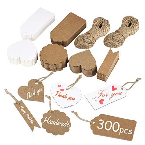 300 Stk. Kraftpapier Anhänger, 6 Arten von Geschenk Etiketten mit 40M Jute-Schnur Geschenkanhänger Papieretiketten zum Basteln für Geschenke, Grußkarten