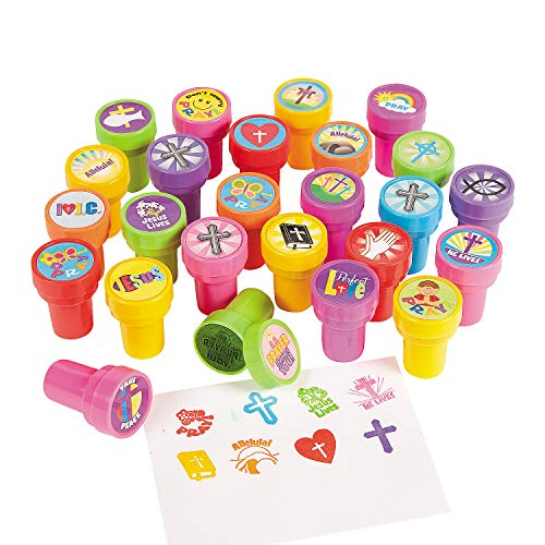 Religious Stamper Assortment - Bulk set of 50 - Sunday School Supplies, Party Favors and Easter Fillers