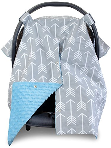 2 in 1 Carseat Canopy and Nursing Cover Up with Peekaboo Opening - Large Infant Car Seat Canopy for Boy or Girl - Baby Shower for Breastfeeding Moms - Arrow Pattern with Blue Minky