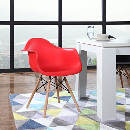Set of 2 Eames Style Red Armchairs