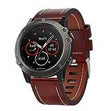Fenix 5X Bracelet de montre en cuir de 26 mm Easy Fit pour Garmin Fenix 5X / 5X Plus Fenix 3/3 HR