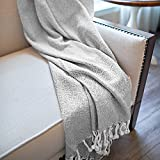 MOTINI Grey Throw Blanket Gray and White Textured Hand Knitted Cozy Plaid Pattern Decorative Farmhouse Throws and Blankets for Couch Bed, 50'x60' 100% Cotton
