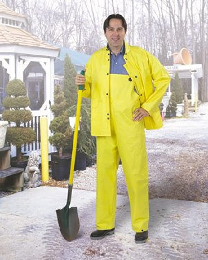 ONGUARD 77032 PVC on Non-Woven Polyester Cooltex Jacket with Hood Snaps, Yellow, Size 3X