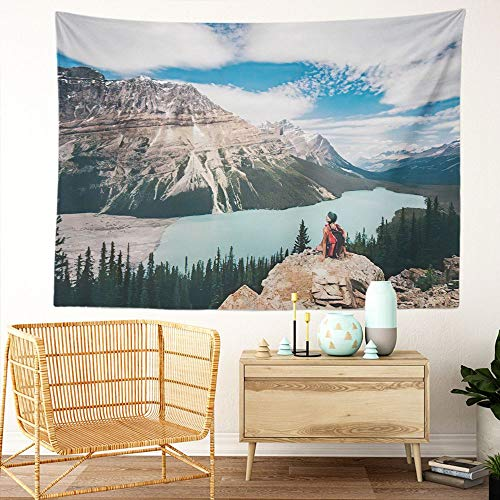 Y·JIANG Canada Landscape Tapestry, Girl Enjoy Beautiful Mountain Lake Peyto Lake Canadian Rockies Home Dorm Decorative Large Tapestry, Wide Wall Hanging Blanket for Living Room Bedroom, 80 x 60 inches
