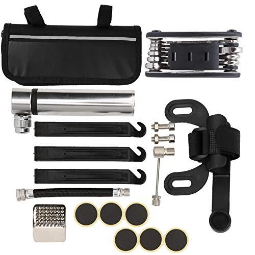 FOTABPYTI Kit de réparation de gonfleur de Pneu de Pompe à vélo Noir/Argent, gonfleur de Pneu de vélo Multifonction, Pompe à vélo pour Accessoires de vélo(Silver)