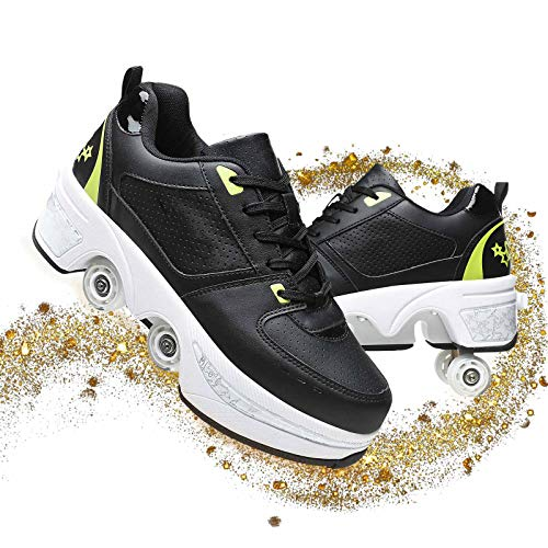 YOUSIOI Deform Wheel Skates Roller Shoes Casual 2 in 1 Four-Wheeled Dual Use Roller Shoes Multi-Functional Deformation Fashion Walk Skates