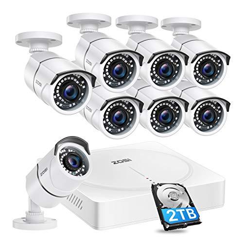 ZOSI 8CH 5MP H.265 + 2TB DVR e 8PCS Telecamera di sorveglianza per esterni IP67 30M Visione notturna Push Alert App gratuita