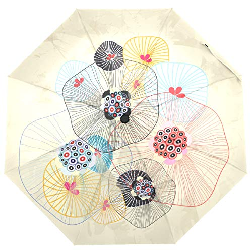 ISAOA Automatischer Faltbarer Regenschirm Japan Lotus Travel kompakt Winddicht Regenschirm