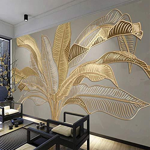 Benutzerdefinierte Fototapete 3D Stereo Golden Relief Bananenblatt Wandbild Wohnzimmer TV Sofa Studie Abstrakte Kunst Wandmalerei 3D Fresko-250x175cm