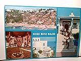 Sidi Bou Said. Tunesie. Der Hafen und die Cafés. Farbige Mehrbild AK. Gebäudeansichten, Cafe Innenansicht, Panoramablick, Tunesien