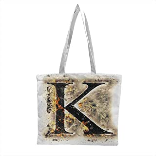 Canvas Grocery Shopping Bags,Letter K Smoked Letter K Alphabet in Blaze with Grunge Design Ignited Writing Symbol,Perfect for Shopping, School Books Tan Black Orange