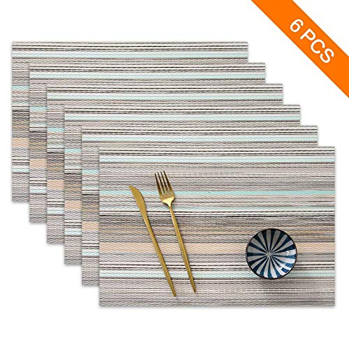 Sayopin Place Mats Set of 6 Heat Insulation Stain Resistant Placemats for Dining Table Durable Cross Weave Woven Vinyl Kitchen Table Mats Placemat (Blue Stripes-6)
