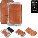 K-S-Trade® Schutz Hülle Für Allview P4 Pro Gürteltasche Gürtel Tasche Schutzhülle Handy Smartphone Tasche Handyhülle PU + Filz, Braun (1x)