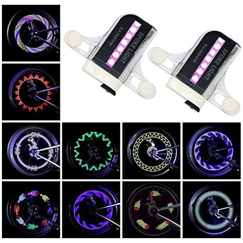 2 Stück Fahrrad LED Speichenlicht 14 LED Fahrrad speichenreflektoren Wasserdichtes Fahrrad Felgenlicht 30 Muster Sicherheitsreifenleuchten für Kinder Fahrrad
