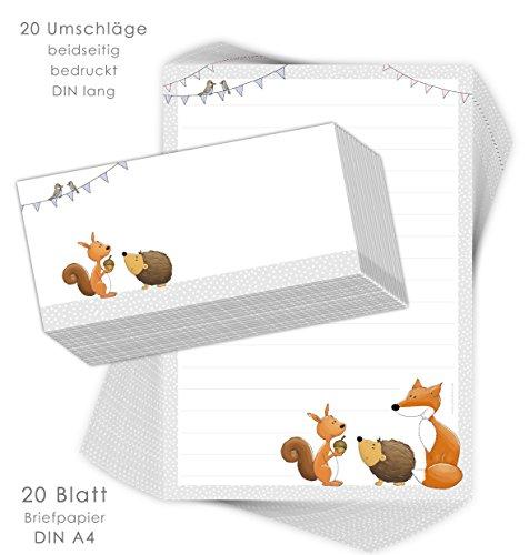 """Briefpapier-Set für Kinder""""WALDTIERE"""" 20 Blatt DIN A4 mit Linien inklusive 20 bedruckten Umschläge/Briefpapier Kinder/Mädchen und Jungen"""